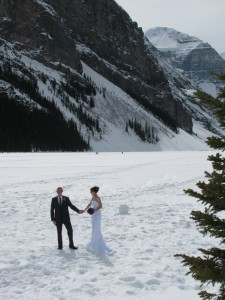 Not Rachel Getting Married, some anonymous couple in Lake Louise knot-tying